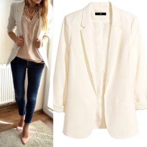 H&M Ivory / White Oversized Open front Blazer